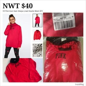 *NWT* VS Pink XS Cowl Neck SHERPA LINED PULLOVER